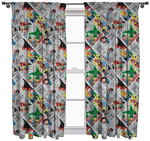 "MARVEL COMICS RETRO 66"" x 54"" PENCIL PLEAT CURTAINS IRON MAN THOR HULK CHARACTER"